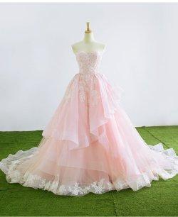 画像1: 新作 花嫁ツートンカラー ライトピンク&オフホワイト刺繍レース お色直しカラードレス サイズオーダー無料 二次会 結婚式 貸衣装よりお得