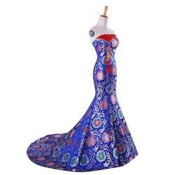 画像1: 新作 マーメイド ロイヤルブルー カラードレス 花嫁 二次会 舞台 オーダーメイド LJブライダル 結婚式 挙式 和柄風