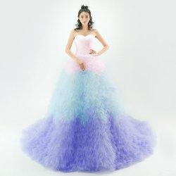 画像1: LJブライダル 新作 花嫁グラデーション カラードレス結婚式 挙式トレーン チュールふわふわ可愛い お色直 サイズオーダー無料 ハンドメイド