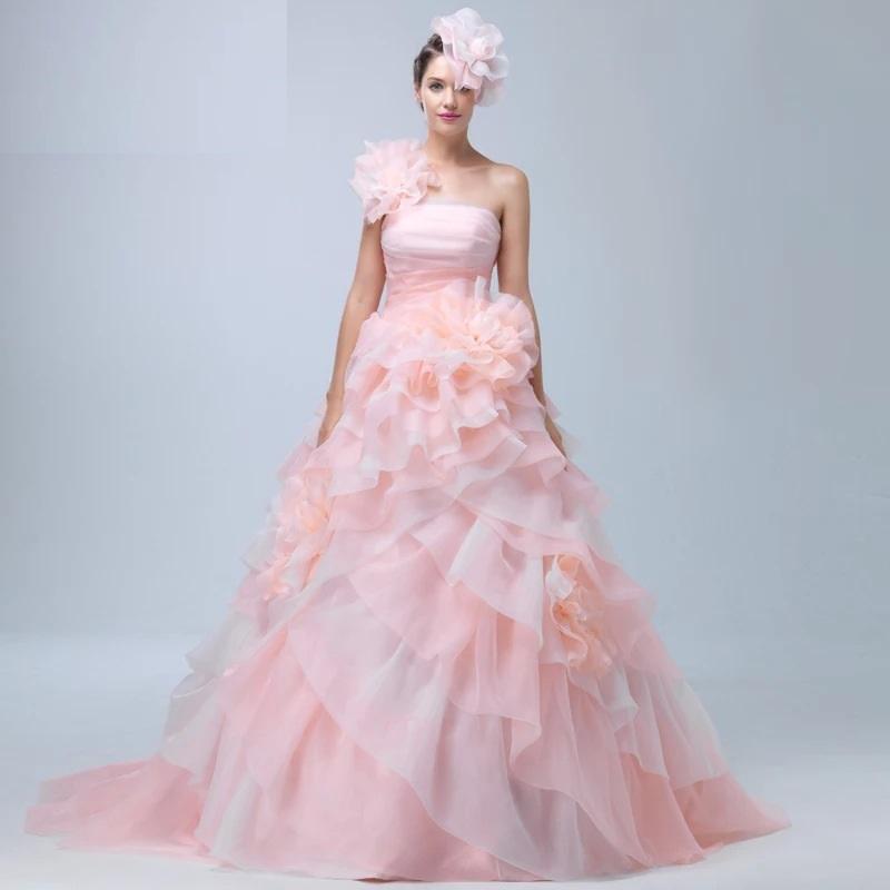LJ王道ピンクカラードレス結婚式豪華挙式可愛花嫁オーダーメイドウェディングドレス7点SET編み上げマタニティ対応本格結婚式ドレス